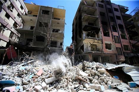 Tuhoutuneita rakennuksia Dumassa.