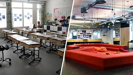 Toisin kuin perinteisissä koululuokissa, moderneissa oppimisympäristöissä ei ole välttämättä pulpetteja lainkaan.