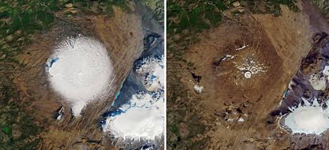Vasemmalla on Okjökull satelliittikuvassa 7.9.1986 ja oikealla 1.8.2019.