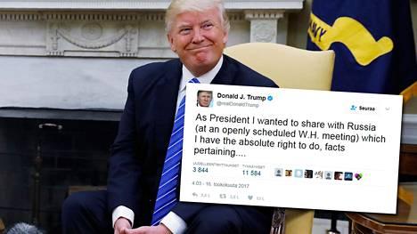 Donald Trump kommentoi lörpöttelykohua Twitterissä.