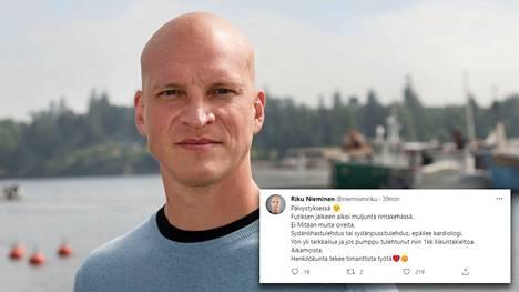 Riku Nieminen kertoo Twitterissä joutuneensa päivystykseen sydänoireiden vuoksi.