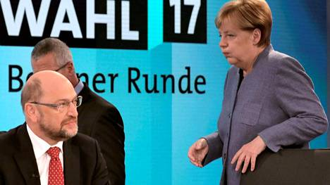 SPD:n puheenjohtaja Martin Schulz ja CDU:n Angela Merkel kohtasivat televisio-ohjelmassa vaalien jälkeen.