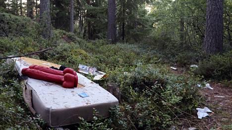 Tällainen näky odotti toimittajaa metsän siimeksessä, valtatie 18:n varressa olevan levähdyspaikan liepeillä.