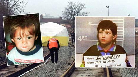2-vuotias James Bulger (vas.) surmattiin raa'asti vuonna 1993. Toinen teosta tuomitusta oli 10-vuotias Jon Venables.