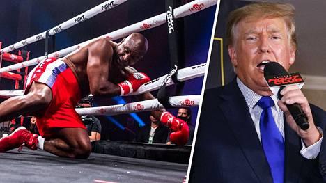 Donald Trump (oik.) näki, kuinka Evander Holyfieldiä (vas.) löylytettiin kehässä.