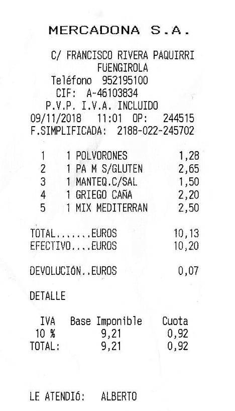 Mercadonan kauppalasku. Kanafileitä, voita, maustesekoitusta... 10,13 euroa.