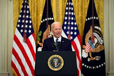 Biden kohtasi median ensimmäistä kertaa tiedotustilaisuudessa astuttuaan virkaansa tammikuun lopussa.