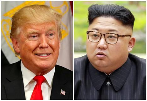 Yhdysvaltain presidentti Donald Trump (vas.) ja Pohjois-Korean johtaja Kim Jong-un.