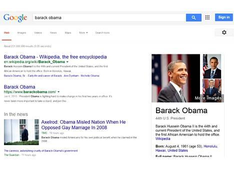 Vastaukset terveyskysymyksiin on määrä nostaa hakutuloksissa ikkunaan samalla tavalla kuin Barack Obama on nostettu tässä kuvassa.