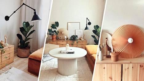 Laura Luoto asuu second handilla sisustetussa kodissa. Osa esineistä on itse tehtyjä.