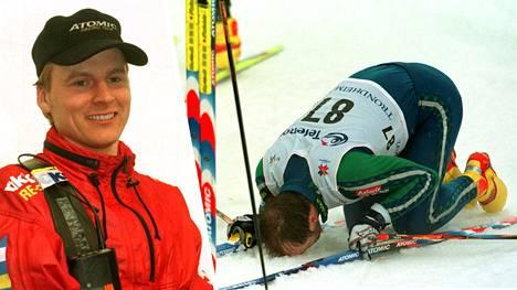 Mika Myllylä suuteli Trondheimin lunta voitettuaan 2.3. 1997 ensimmäisen arvokisakultansa. Suksenpaistaja Marko Anttolankin oli helppo hymyillä.