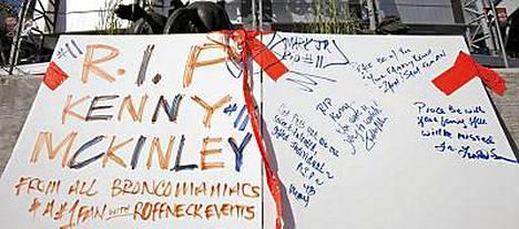 Kenny McKinleyn kuolema järkytti Denver Broncosin ja sen kannattajat.