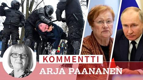 Venäjän poliisi käytti sunnuntaina tainnutusaseita myös jo kiinni otettuihin ja rauhallisiin mielenosoittajiin. Halonen oli lauantaina vielä kieli keskellä suuta kommentoidessaan Putinin hallintoa.