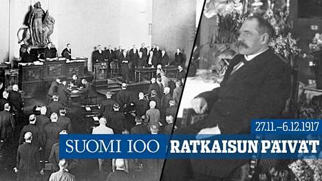P.E. Svinhufvud pettyi riitaiseen itsenäistymisprosessiin. Hän puhui eduskunnalle Heimolan talossa 4. joulukuuta.