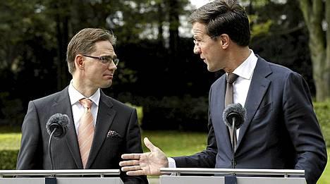 Rutte tapasi pääministeri Jyrki Kataisen (kok) tänään Hollannin pääkaupungissa Haagissa