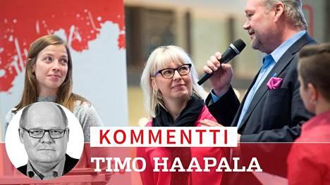 Vasemmistoliitto etenee eläkeputkineuvottelujen alla kaksilla rattailla. Sosiaali- ja terveysministeri Anna-Kaisa Pekonen (vas) ja Li Andersson (vas) yrittävät kerätä jo etukäteen irtopisteitä itselleen ja puolueelleen.