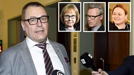 Sinisten Matti Torvinen arvostelee perustuslakivaliokunnan tärkeysjärjestystä. Pikkukuvissa perustuslakivaliokunnan johtaja Annika Lapintie, Ilkka Kantola ja Krista Kiuru.