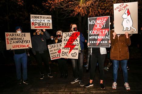 Muumeista on Puolassa tullut valinnanvapautta kannattavien mielenosoittajien symboli.