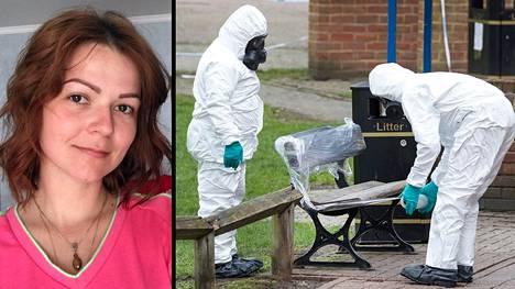 Tutkijat tarkastelivat penkkiä, jolta Julia Skripal ja hänen isänsä Sergei Skripal löydettiin 4. maaliskuuta.