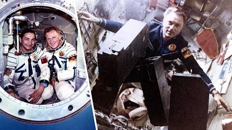 Valeri Bykovski (vas.) ja Sigmund Jähn lensivät yhdessä avaruuteen. Jähn vietti Saljut 6 -avaruusasemalla (oik.) viikon, jonka aikana hän teki erilaisia tieteellisiä kokeita.