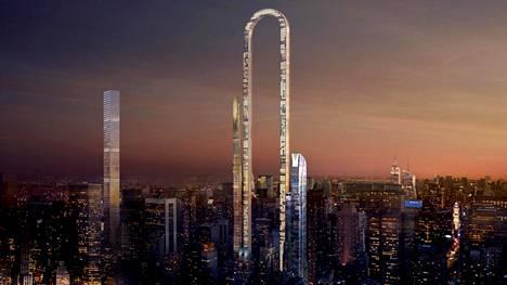 The Big Bend yhdistäisi kaksi tornia kaarteella, jolloin siitä tulisi maailman pisin rakennus.