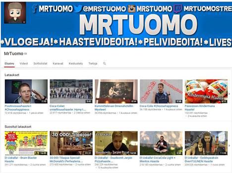 MrTuomon YouTube-tilin etusivu.