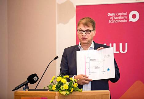 Kiky-sopimusta avittanut pääministeri Juha Sipilä (kesk) esitteli puolueväelle kiky-sopimusta Oulussa elokuussa 2016.
