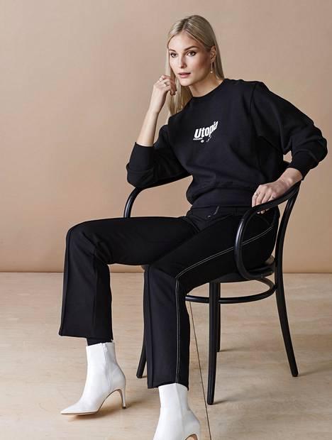 Housut 40 €, H&M. College-paita 30 €, Eytys x H&M -unisex-mallistosta. Hopeiset korvakorut 28 €, Glitter. Tekonahkaiset nilkkurit 40 €, H&M. Sormukset 7 €, KappAhl, myydään yhdessä.