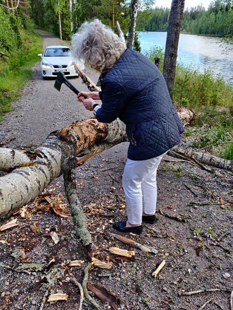 Neljän naisen joukko pilkkoi puun kirveellä.