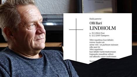 Olli Lindholmin kuolinilmoitus julkaistiin Satakunnan Kansassa.