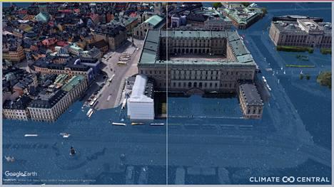 Tältä tutkijoiden mukaan Tukholman linnaa ympäröivä alue voi näyttää, jos ilmasto lämpenee 1,5 astetta (vasemmalla) tai 3 astetta (oikealla).