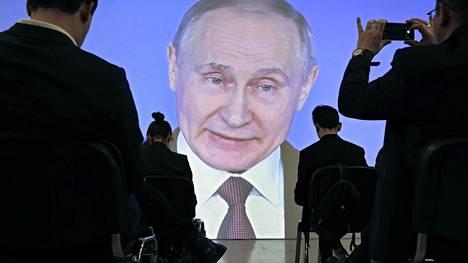 Vladimir Putin puhui toimittajille Moskovassa.