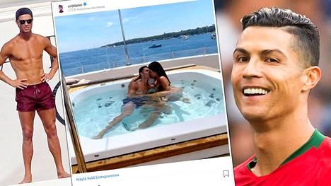 Ronaldo lomailee Rivieralla Africa-nimisellä huvialuksella.