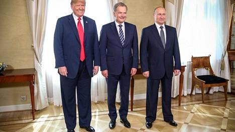 Donald Trump, Sauli Niinistö ja Vladimir Putin Helsingissä kesällä 2018.