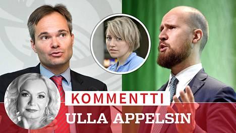 Vihreiden lainsäädäntösihteerin Aino Pennasen käytöksestä Finnairin lennolla on keskusteltu vilkkaasti. Oman panoksensa keskusteluun ovat antaneet kokoomuslainen sisäministeri Kai Mykkänen (kuvassa vasemmalla) ja vihreiden puheenjohtaja Touko Aalto (kuvassa oikealla).