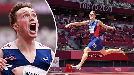 Tuore olympiavoittaja Karsten Warholm juhli voittoaan tutuilla eleillä.