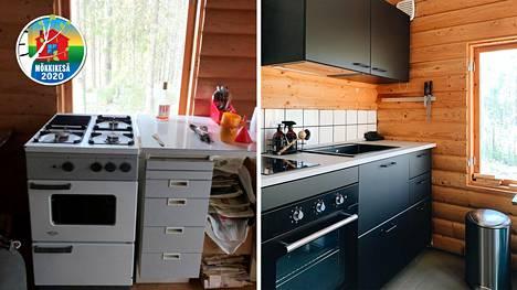 Mökkikeittiö ennen ja jälkeen remontin. Mökkiin on tarkoitus vetää vielä vedet, joten pieniä yksityiskohtia, kuten hana, keittiöstä vielä puuttuu.