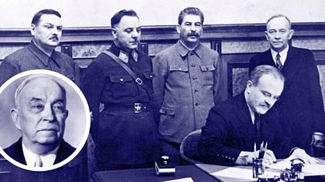 """Neuvostoliitto perusti """"Suomen kansanhallituksen"""" ja teki sen kanssa sopimuksen. O.W. Kuusinen kuvassa oikealla Josif Stalinin vieressä. Pikku kuvassa Kuusinen myöhemmin."""