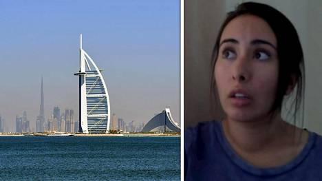 Kuvassa kuvakaappaus Escape from Dubai -Youtube-kanavan jakamalta videolta, jossa Sheikha Latifan väitetään esiintyvän.. IS ei ole saanut varmistusta videolla esiintyvän naisen henkilöllisyydestä tai hänen esittämiensä väitteiden todenperäisyydestä.
