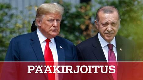 Yhdysvaltain presidentti Donald Trump ja Turkin presidentti Recep Tayyip Erdogan ovat asettaneet Naton hankalaan asemaan omilla toimillaan. Kuva on heinäkuulta 2018, jolloin miehet tapasivat Naton päämajassa Brysselissä.