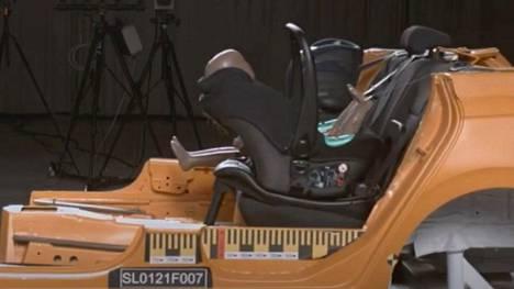 Turvakaukalo irtosi isofix-telakasta sekä etu- että sivutörmäystestissä, kun kaukalossa oli 11-kiloinen törmäystestinukke