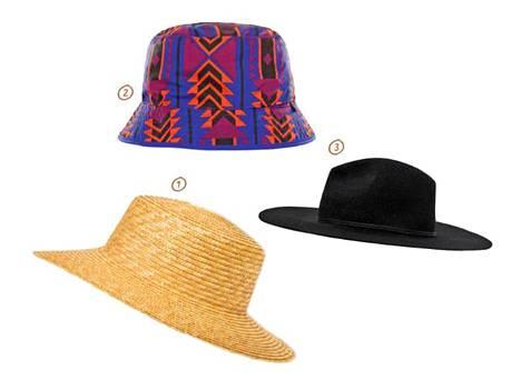 1. Suomalaisen KN Collectionin upeassa olkihatussa ei ole turhia koristeita, 75 €. 2. Vedenpitävä kalastajahattu on loistava rannallakin, 25 €, The North Face. 3. Hattua, jonka lieri on suora ja leveä, kutsutaan fedoraksi, 39,95 € Zara.