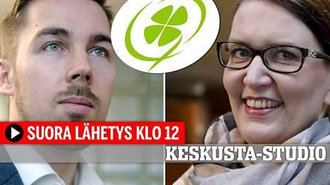 ISTV:n Keskusta-studiossa puoluesihteeriehdokkaat Jirka Hakala ja Riikka Pirkkalainen.