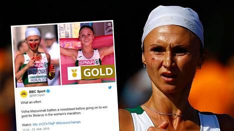 Volha Mazuronak juoksi verissäpäin maratonin voittoon.