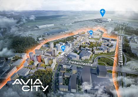Alueelle on suunnitteilla 400 000 kerrosneliötä asumista, toimistoja ja hotelleja sekä kirjava cocktail loistavia lähipalveluja.