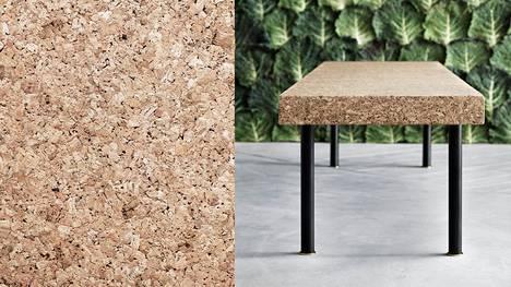 Korkki on materiaalina kaunis luonnonmateriaali. Se myös pehmentää akustiikkaa.