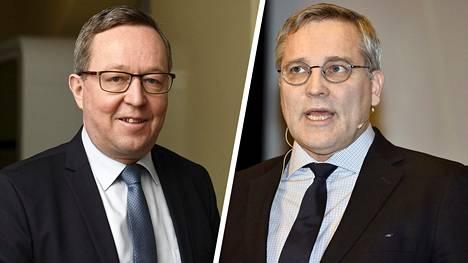 Elinkeinoministeri Mika Lintilä (kesk) ja Suomen Yrittäjien puheenjohtaja Mikael Pentikäinen vierailivat Ylen aamussa.