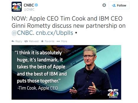 CNBC tviittasi uutislähetyksestä, jossa Applen toimitusjohtaja Tim Cook ja IBM:n toimitusjohtaja Ginni Rometty julkistivat yhteistyön.