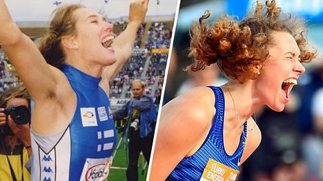 Kuin kaksi marjaa: Ringa Ropo ja Ella Junnila riemuitsevat yleisurheilukisoissa vuonna 1992 ja 2019.