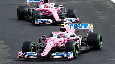 Lance Stroll ja Sergio Perez ajavat kiistanalaisilla autoilla tällä kaudella.